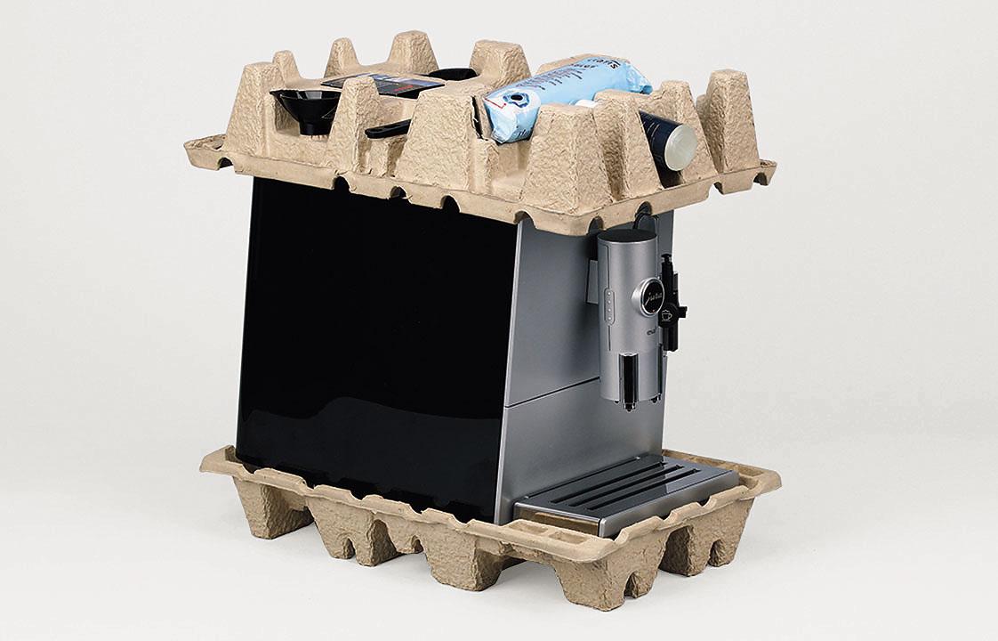 Molded fiber cushions for coffee machine