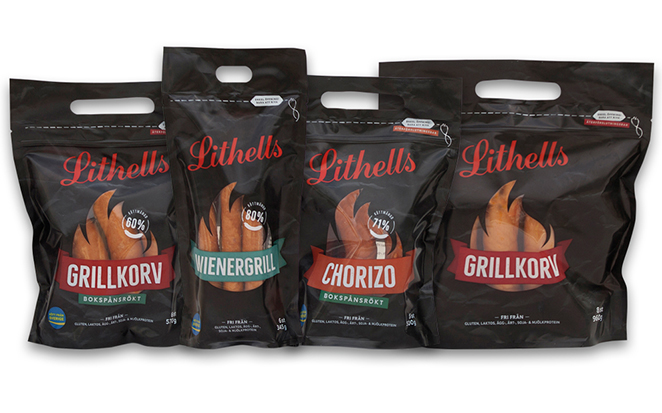 Neues Profil für Lithells Grillwurst mit Schur®Star Grab´n´Go Standbodenbeuteln
