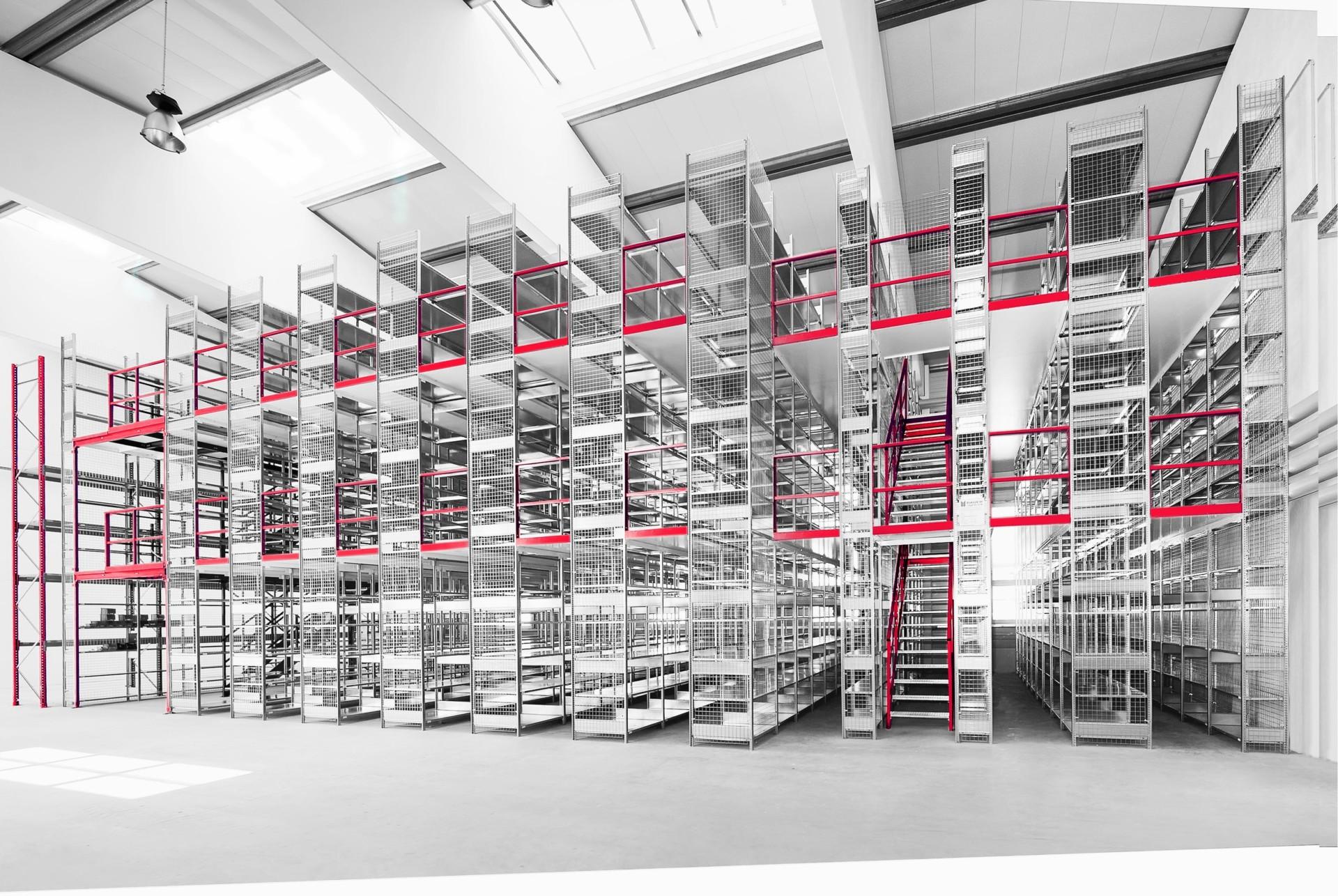 Multi-storey shelving systems